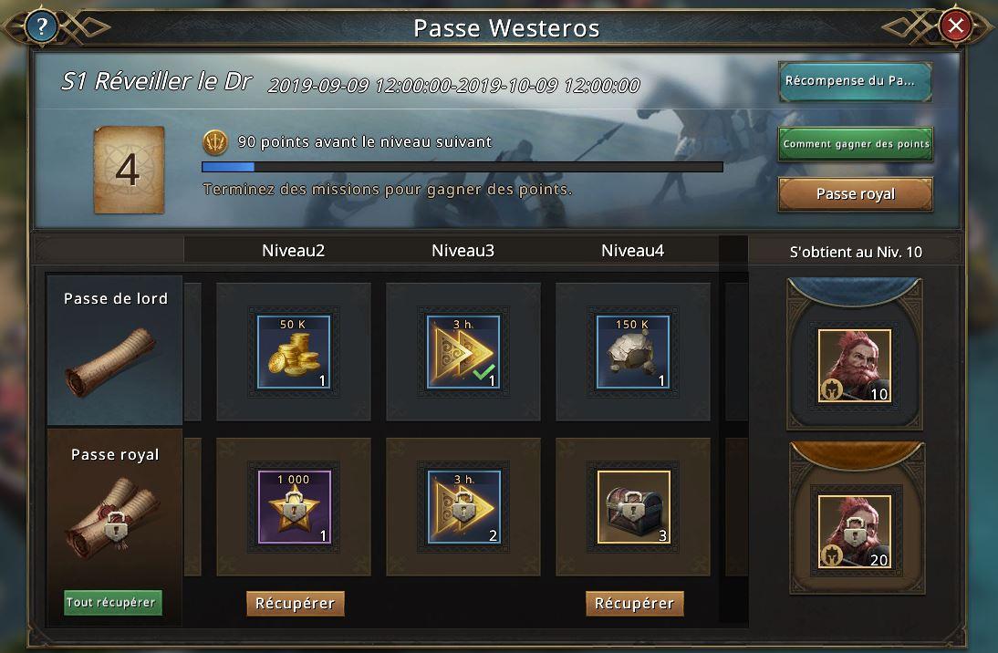 Récupération des récompenses sur l'écran de l'événement
