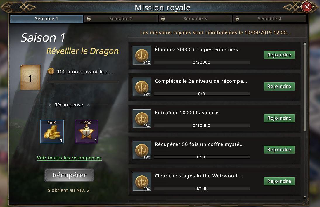 Missions de la saison 1 du passe Westeros
