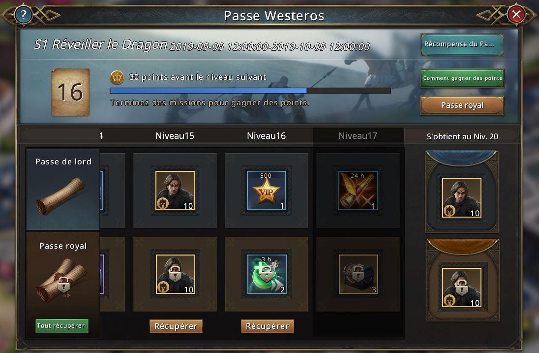 Récompenses des niveaux 15-17 du passe Westeros