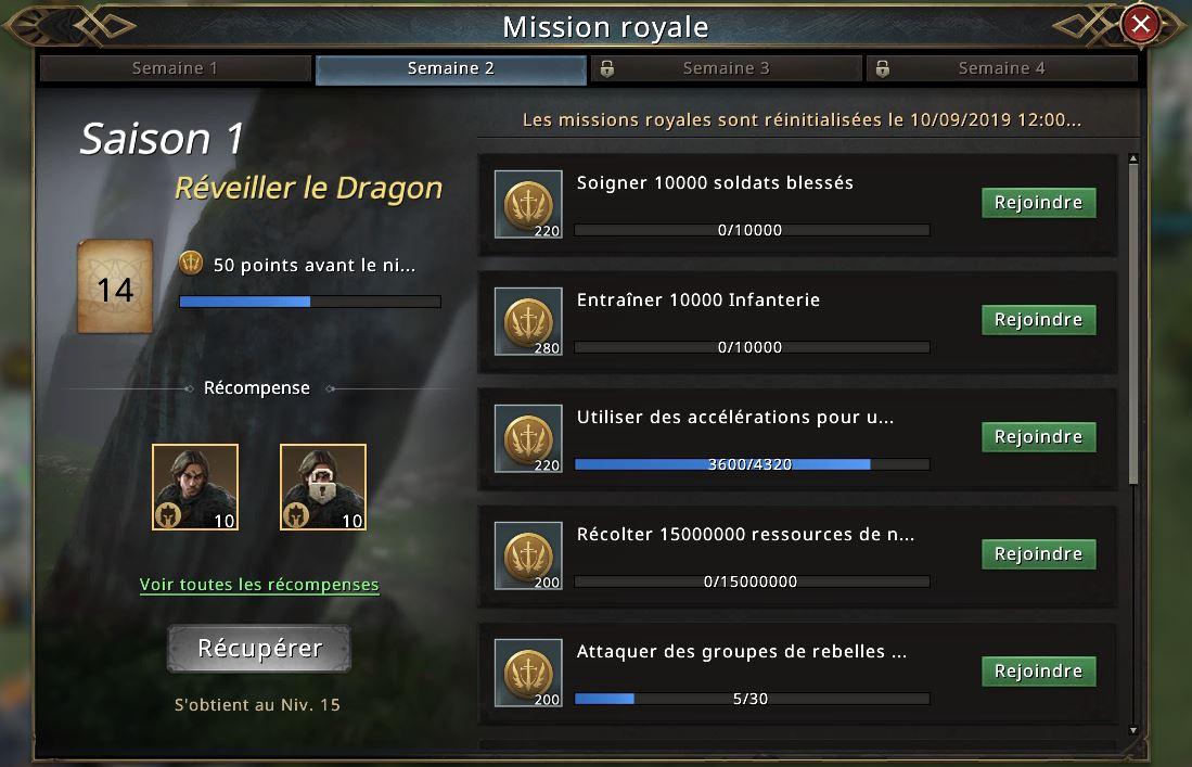 Missions de la semaine 2 du passe Westeros