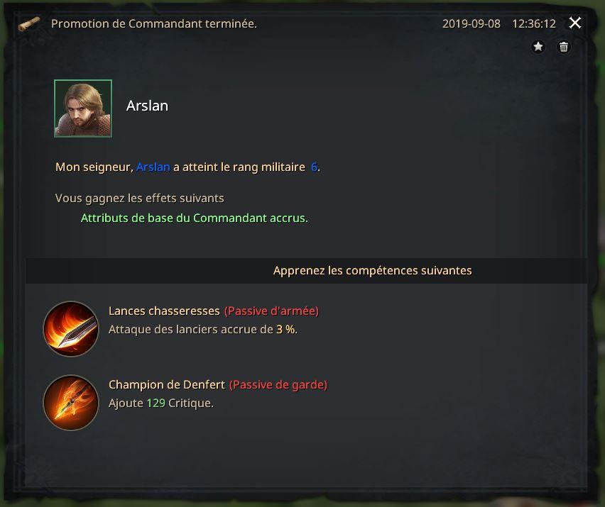 Rapport de promotion du commandant Arslan au rang VI