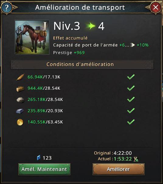 Amélioration de transport vers niveau 4