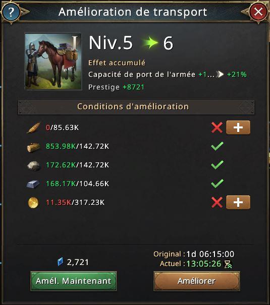Amélioration de transport vers niveau 6