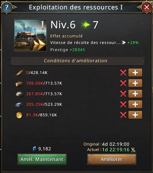 Exploitation de ressources vers le niveau 7