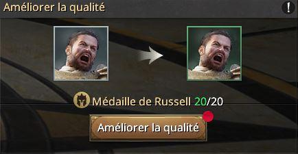 Médailles de Russel vers le cadre vert