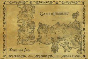 Poster carte de Westeros et Essos antique
