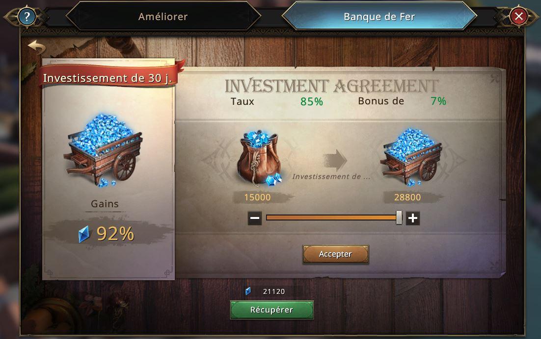 Investissement à la banque de fer
