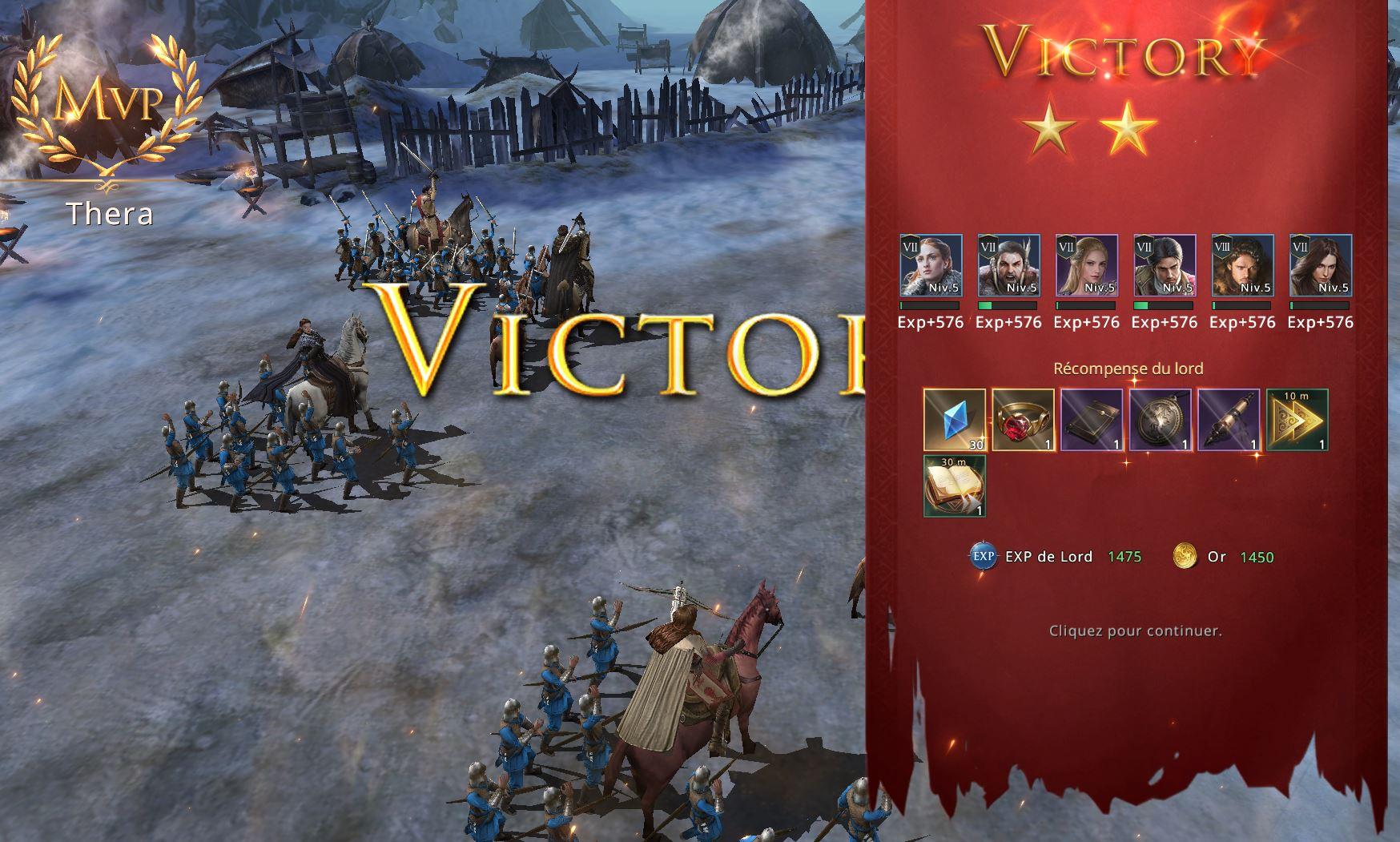 Victoire 2 étoiles à l'épisode 7-18