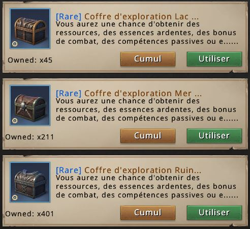 Coffres d'exploration