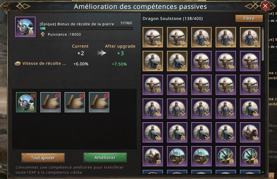 Nouvel aspect écran amélioration compétence