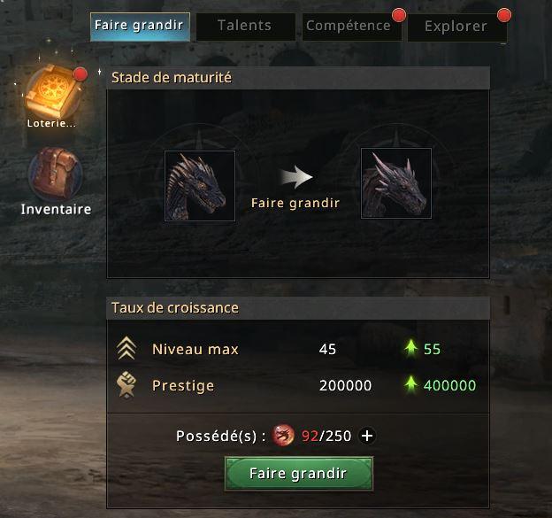 Icones déplacées sur l'écran dragon
