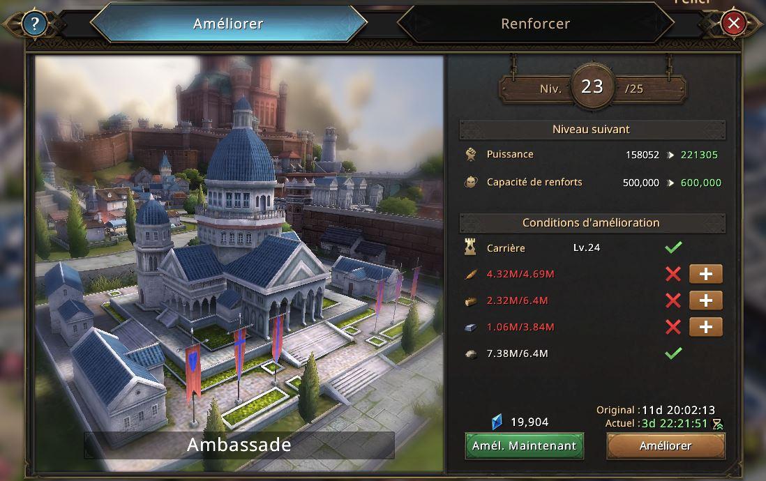 Evolution de l'ambassade vers le niveau 24