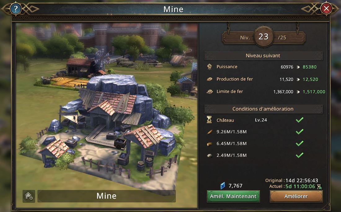 Evolution de la mine vers le niveau 24