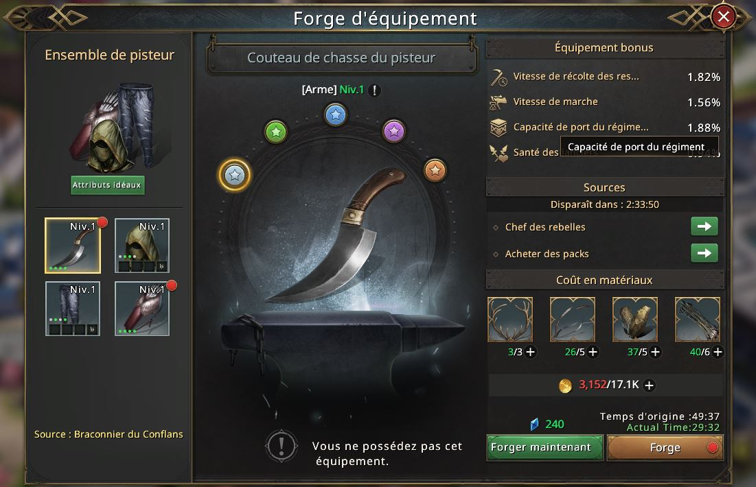 Couteau de chasse du pisteau