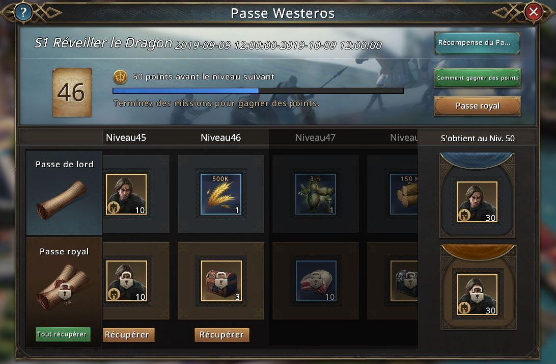 Passe Westeros récompenses niveaux 45-48