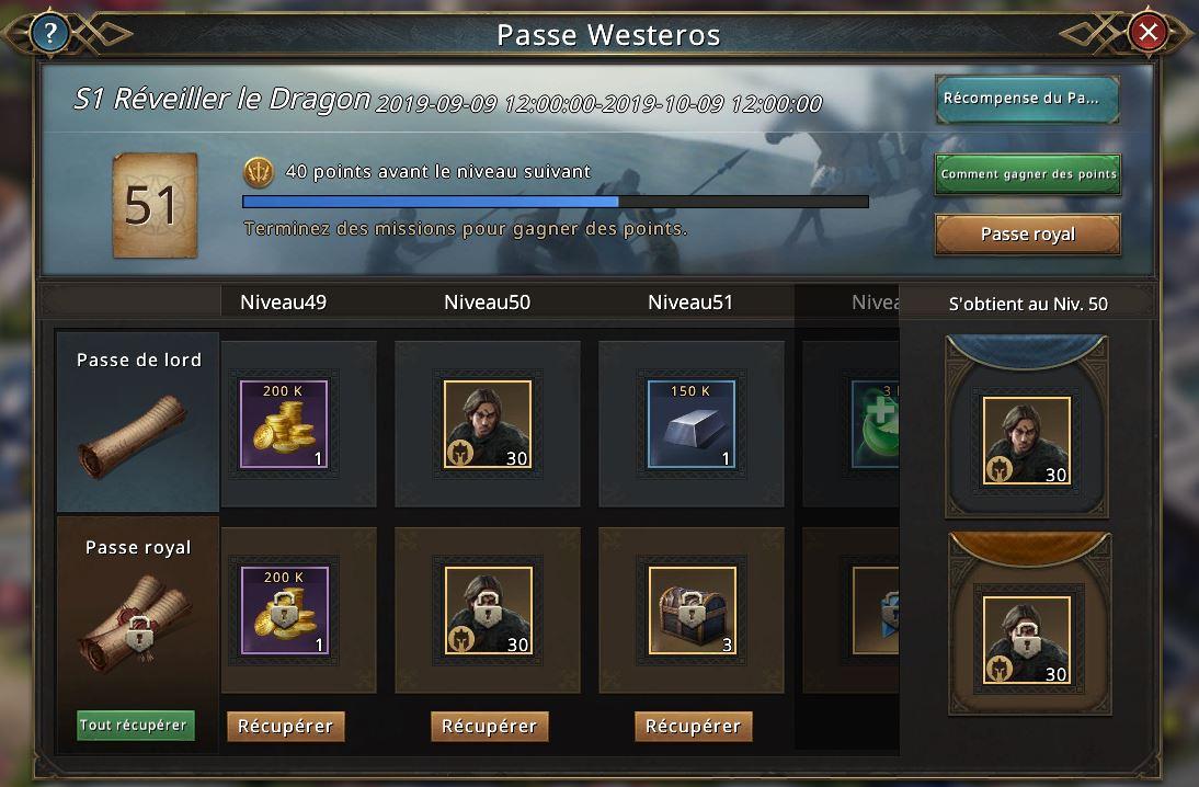 Passe Westeros - Récompenses niveau 49-52