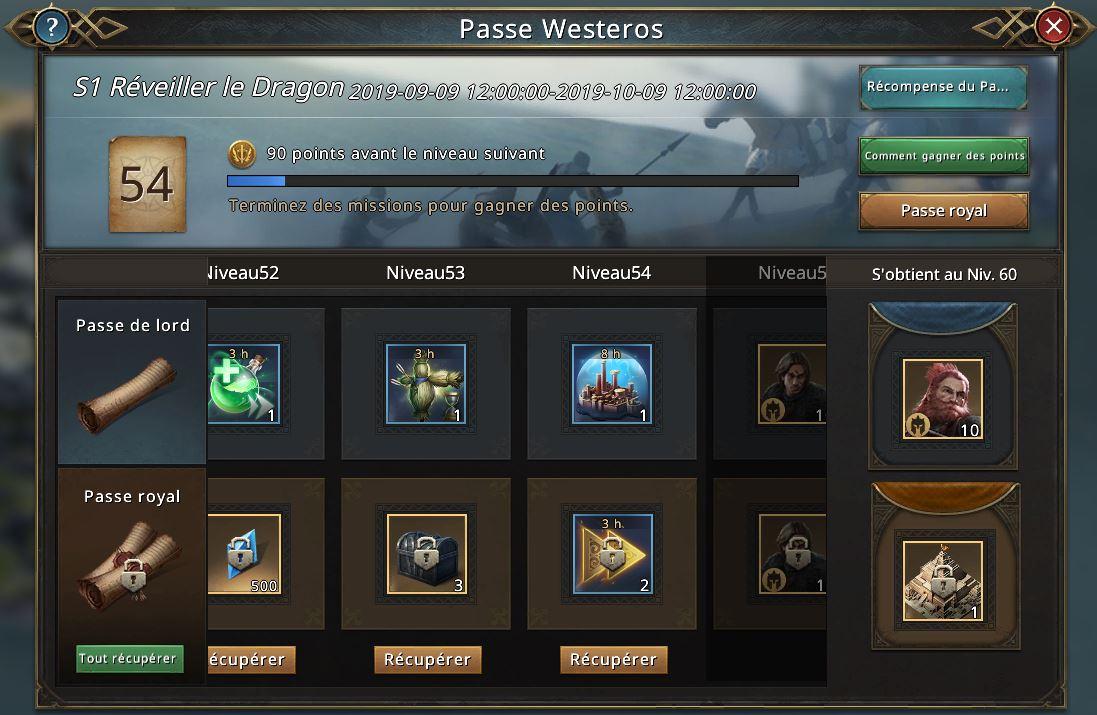 Passe Westeros récompenses niveau 51-55
