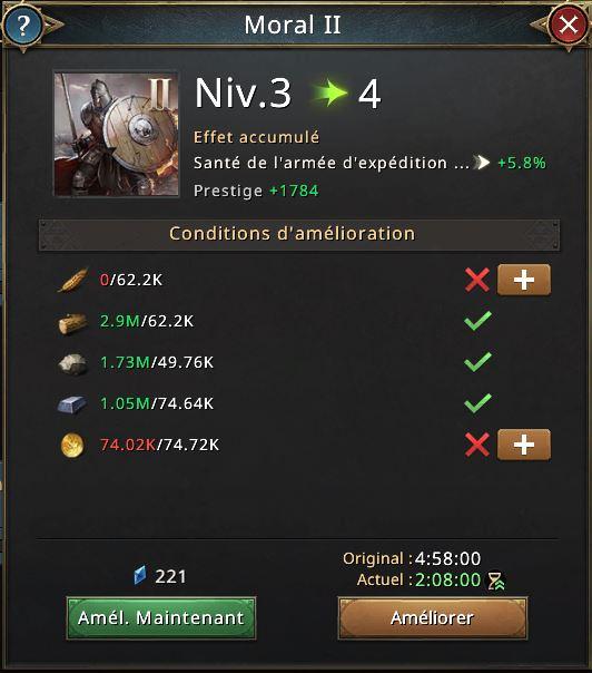 Moral II vers le niveau 4