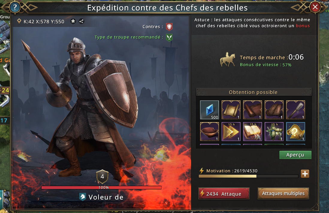 Expédition contre un chef rebelle de niveau 4