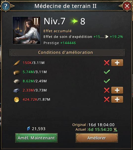 RechercheMédecine de terrain II vers niveau 8