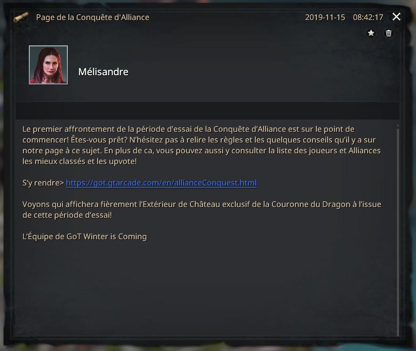 Message de Mélisandre conquête alliance et lien vers page web
