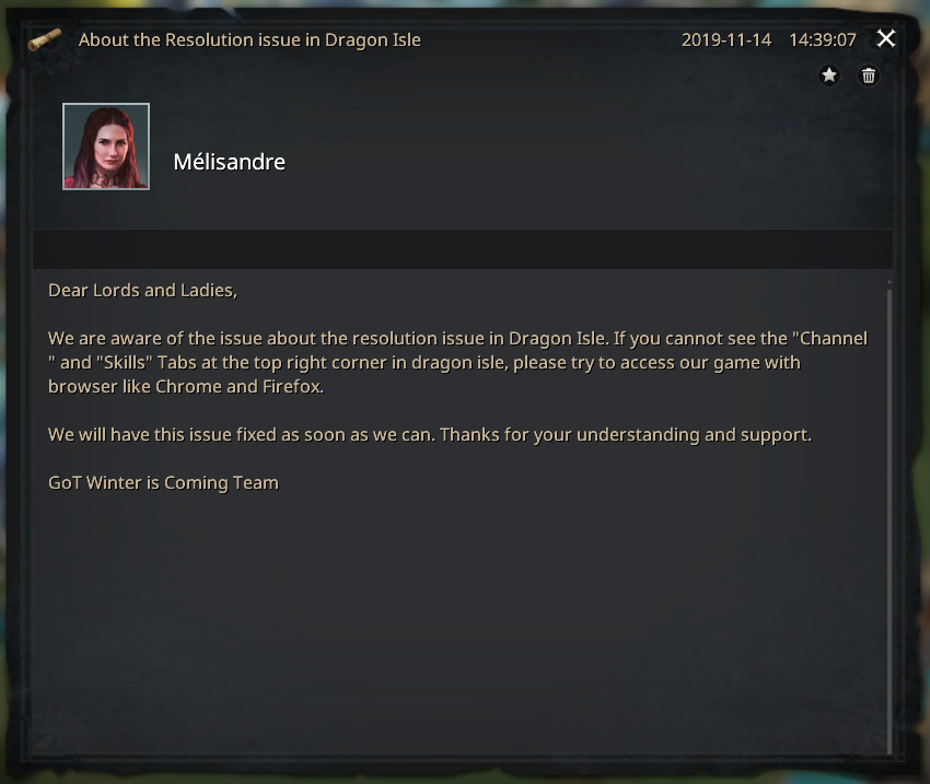 Message résolution en cours bug affichage onglets dragon