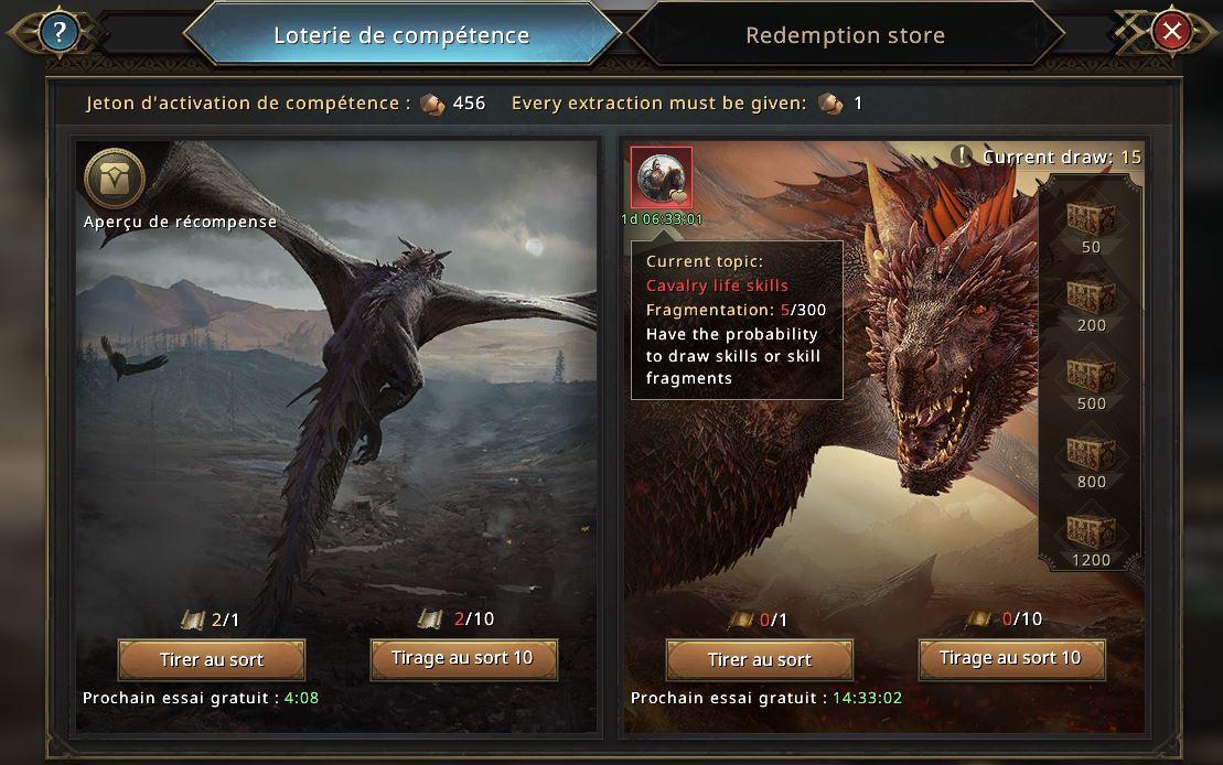 Ecran de loterie du dragon