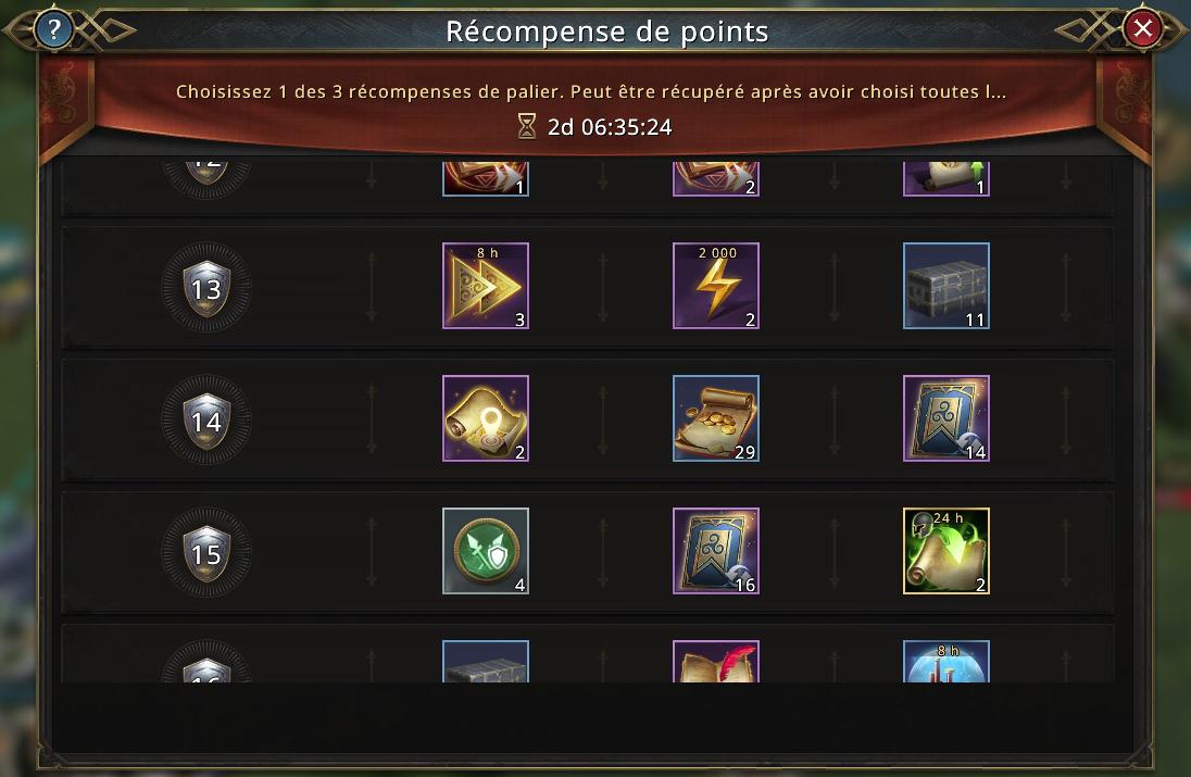 Fin de la mobilisation d'alliance - récompenses à choisir pour rangs 13-16