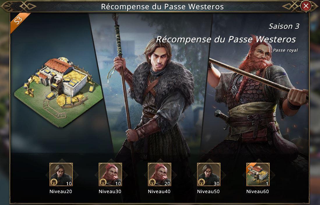 Récompenses du Passe Westeros saison 3