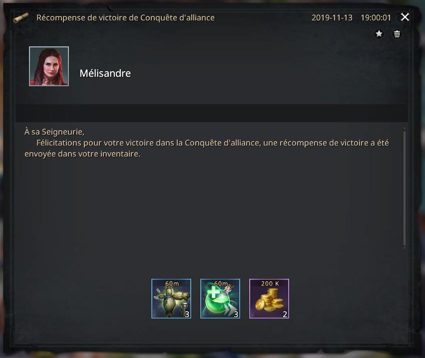 Rapport de Conquête d'Alliance