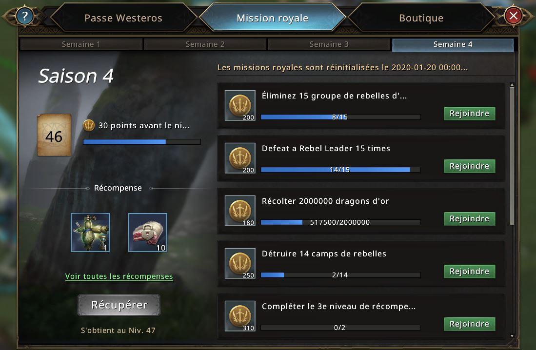 Semaine 4 du Passe Westeros