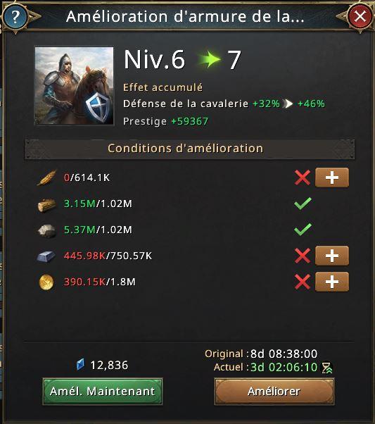 Amélioration d'armure de la cavalerie vers niveau 7