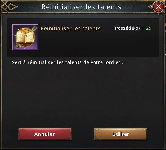 Utilisation objet réinitialisation de talents