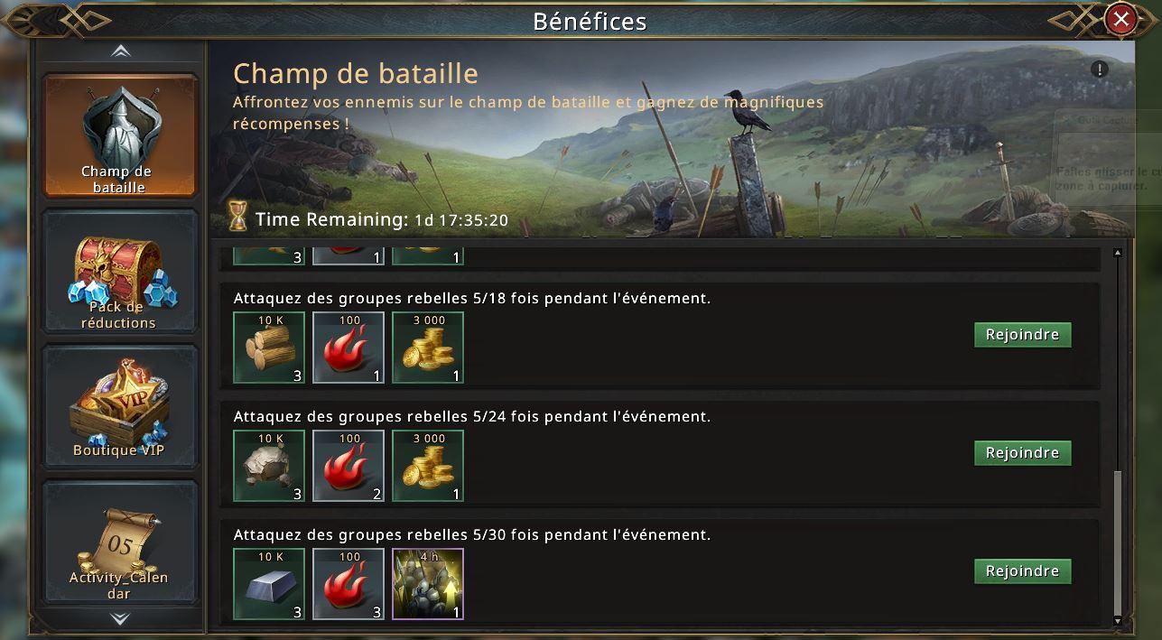 Champ de bataille - groupes rebelles