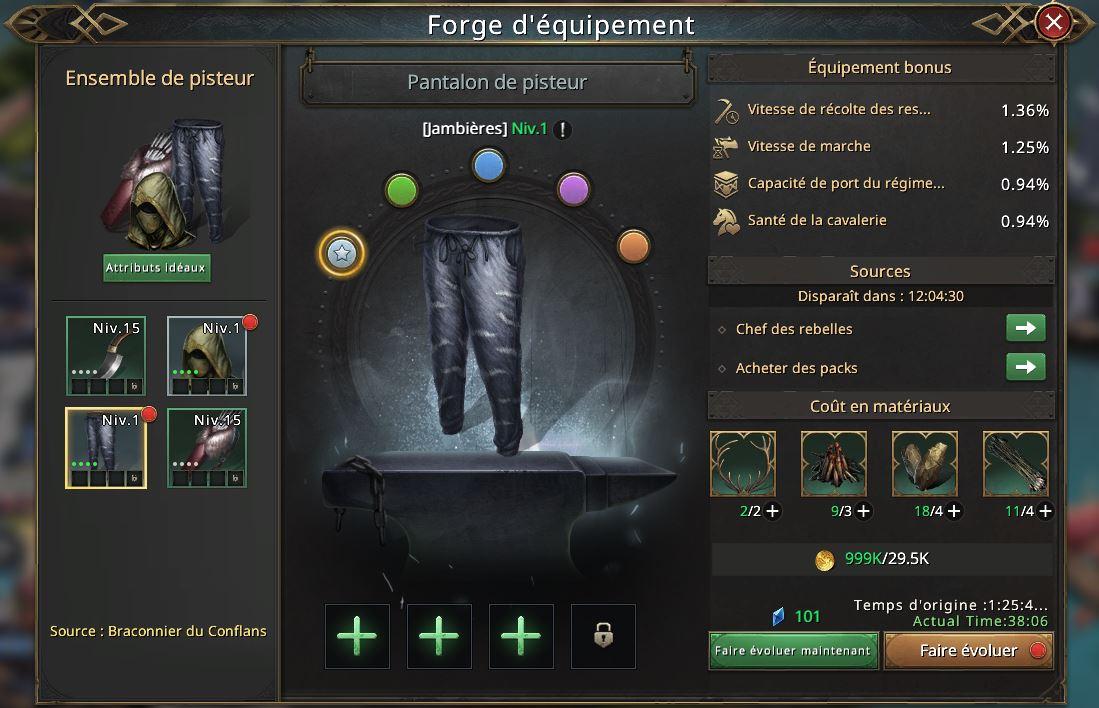 Evolution du pantalon de pisteur