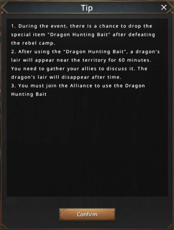 Règles du Dragon hunting bait