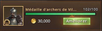 102 médailles d'archers de Villevieille