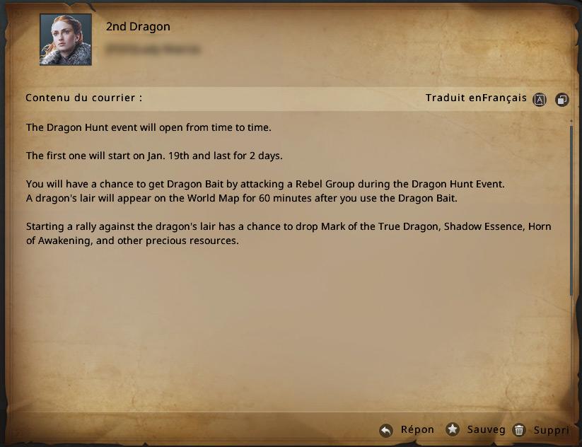 Message concernant le dragon bait