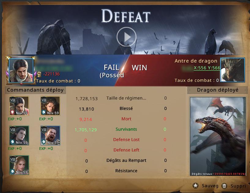 Rapport de défaite contre l'antre de dragon