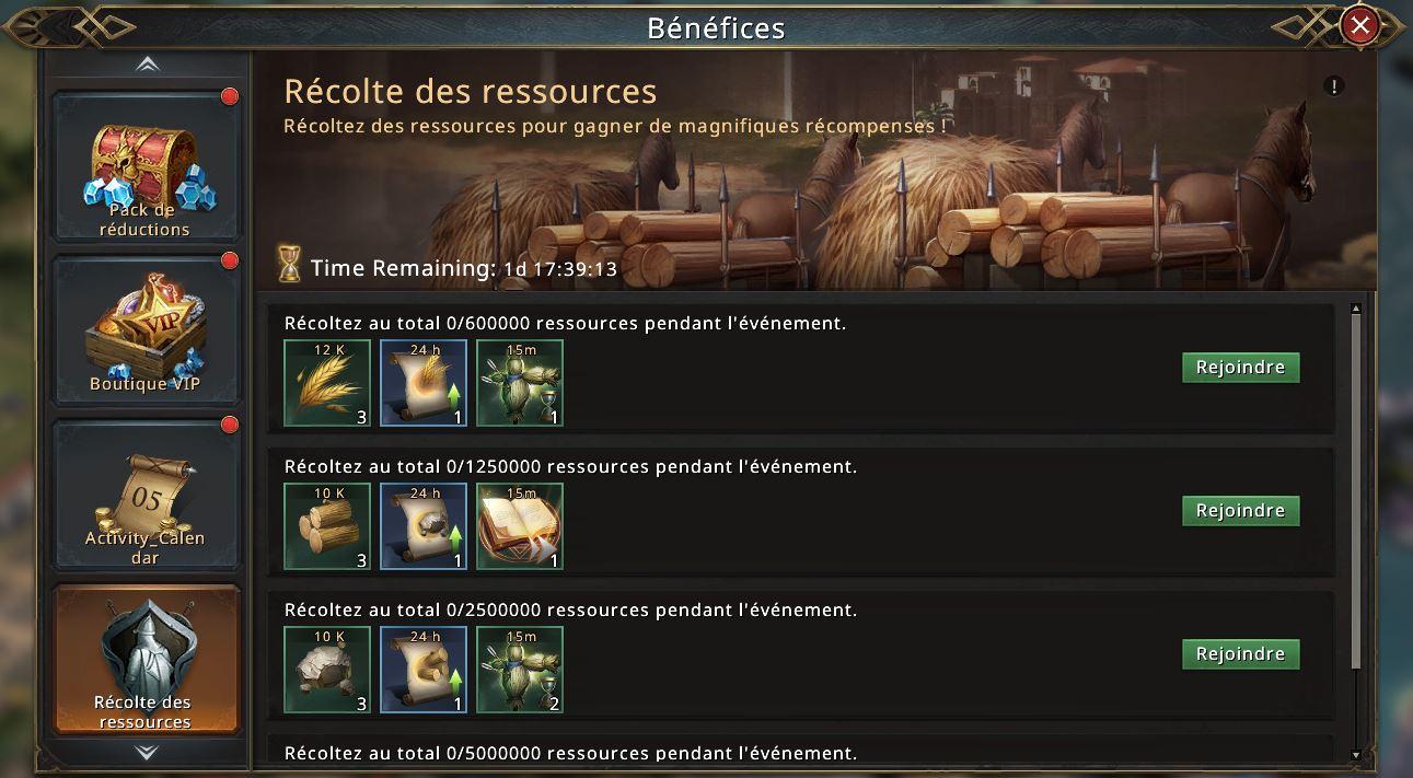 Récolte des ressources
