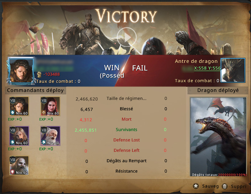 Victoire ralliement contre dragon