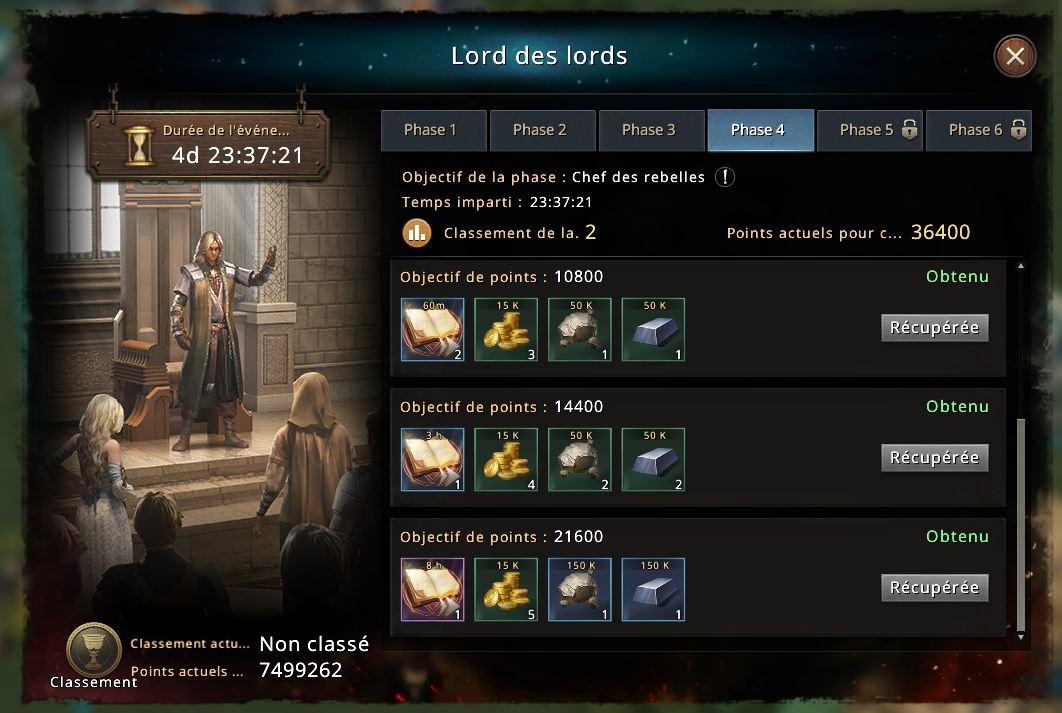 Phase 4 du Lord des Lords compétée