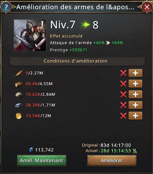 Amélioration des armes de l'armée