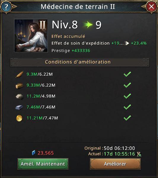 Médecine de terrain II vers le niveau 9