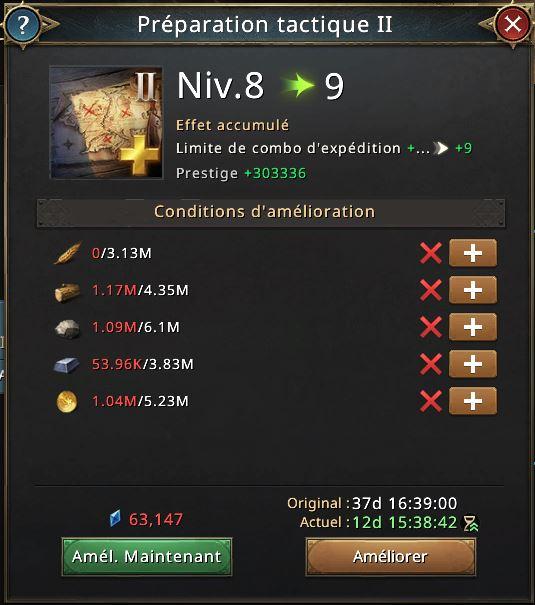 Recherche préparation tactique vers le niveau 9