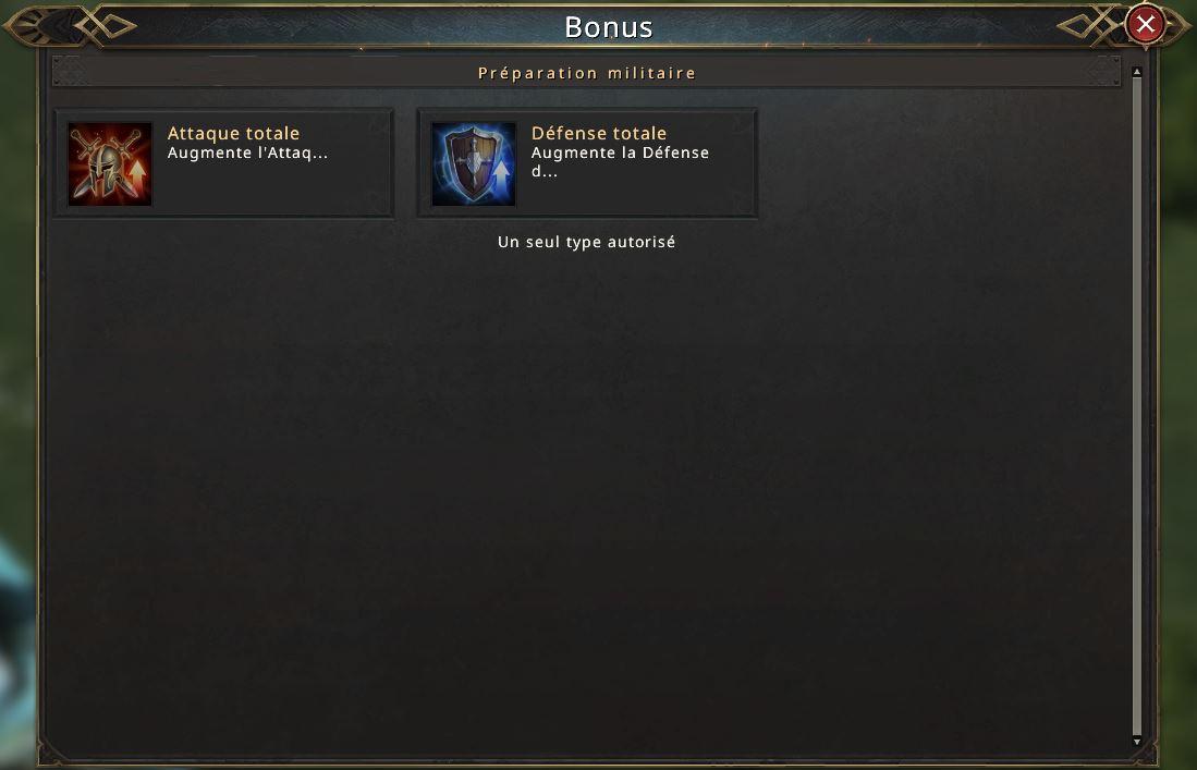 Choix d'un bonus d'armée