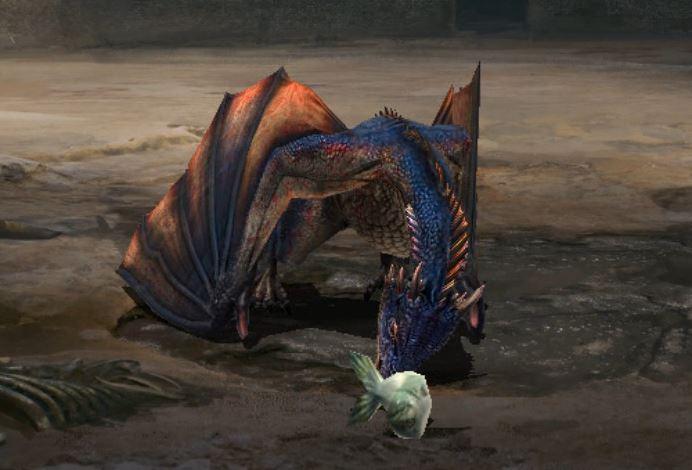 Dragon adulte déguste poisson