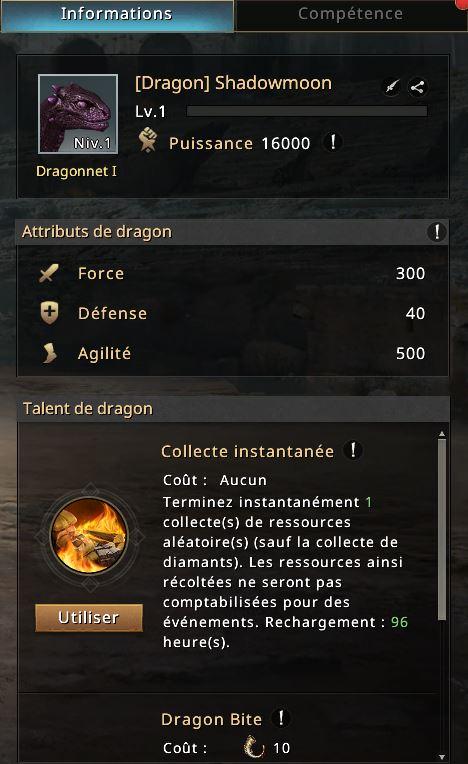 Informations sur le dragon