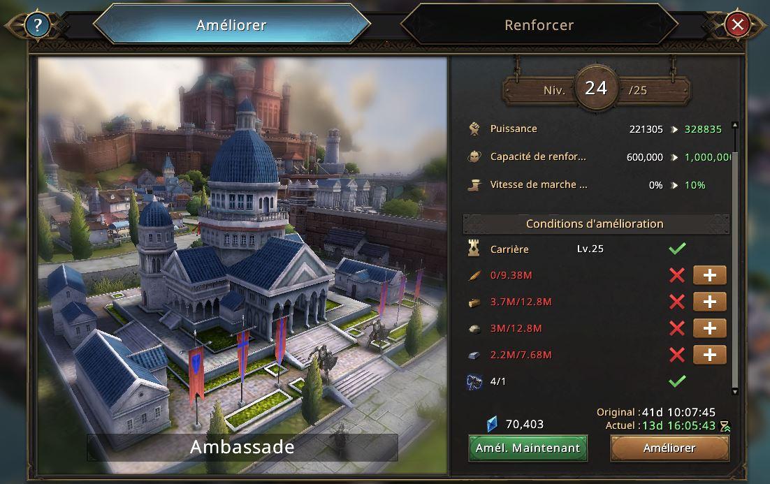 Evoltion de l'ambassade vers le niveau 25