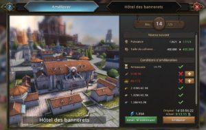 Evolution de l'Hôtel des bannerets vers le niveau 15